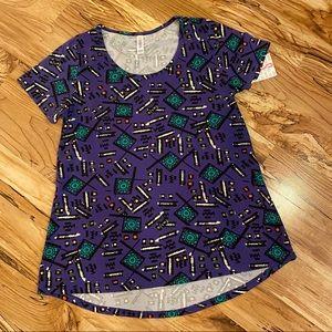 Lularoe Purple Printed Classic T Size Small NWT